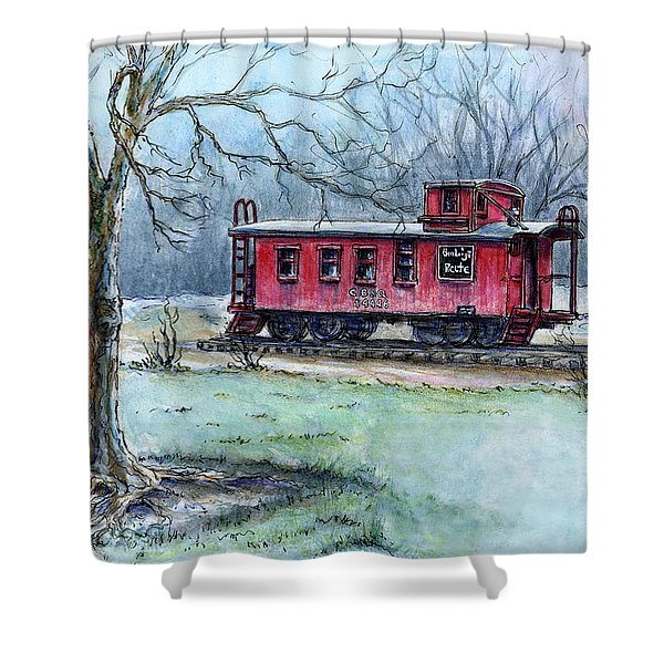 Retired Red Caboose Shower Curtain