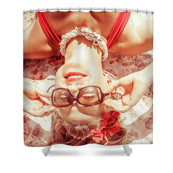 Retro 50s Beach Pinup Girl Shower Curtain
