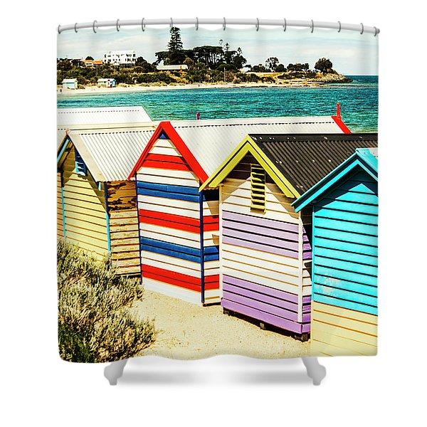 Retro Beach Boxes Shower Curtain