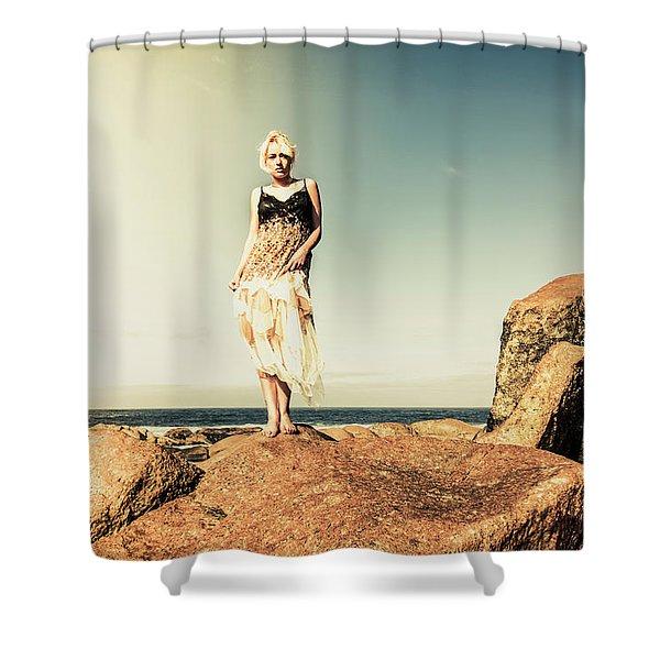 Retro Beach Fashions Shower Curtain
