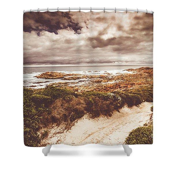 Retro Beach Tracks Shower Curtain