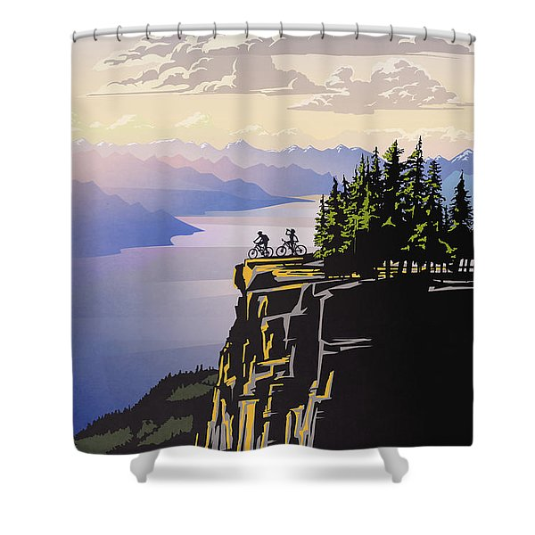 Retro Beautiful Bc Travel Poster Shower Curtain