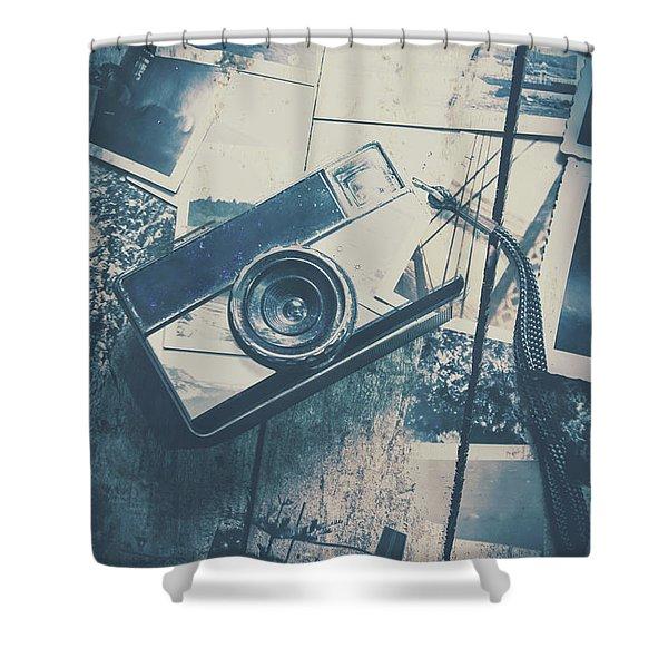 Retro Camera And Instant Photos Shower Curtain