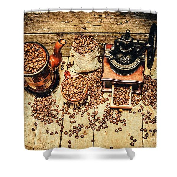 Retro Coffee Bean Mill Shower Curtain