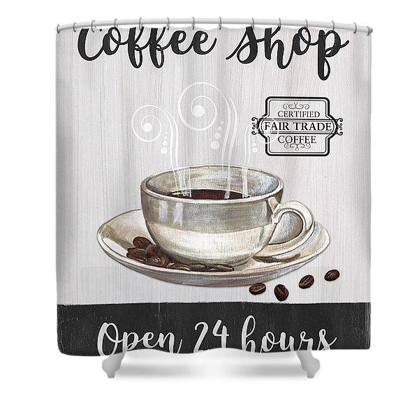 Retro Coffee Shop 1 Shower Curtain