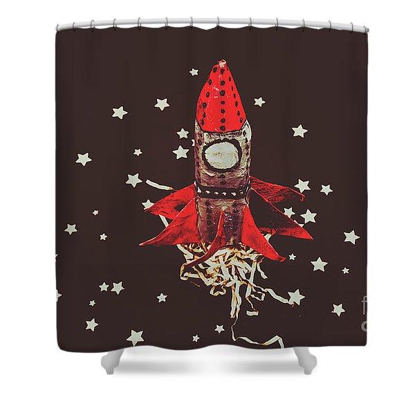Retro Cosmic Adventure Shower Curtain