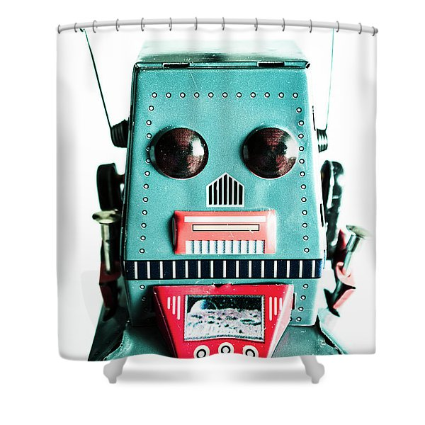 Retro Eighties Blue Robot Shower Curtain