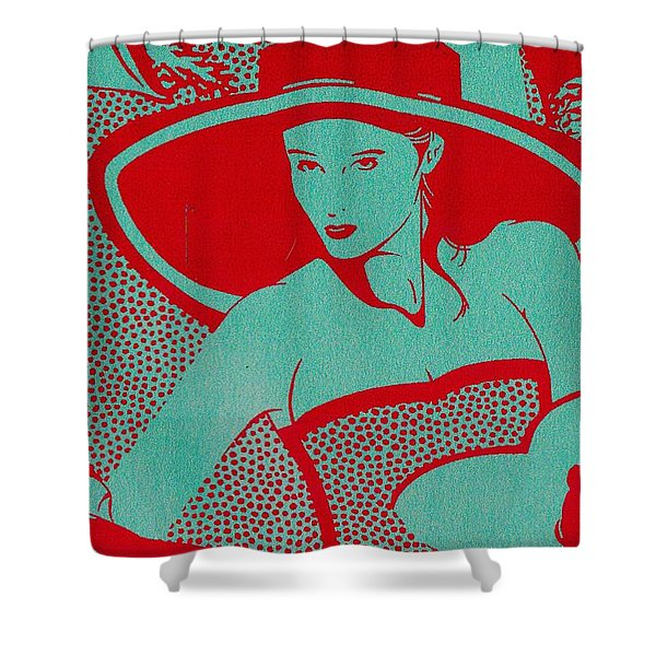 Shower Curtain featuring the mixed media Retro Glam by Writermore Arts