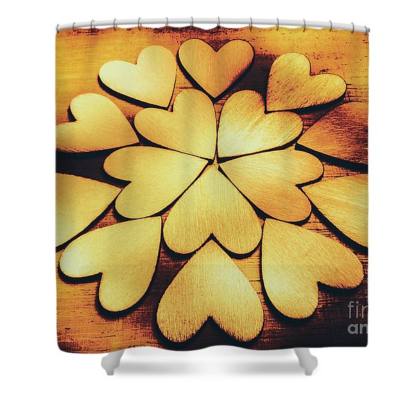 Retro Heart Connection Shower Curtain