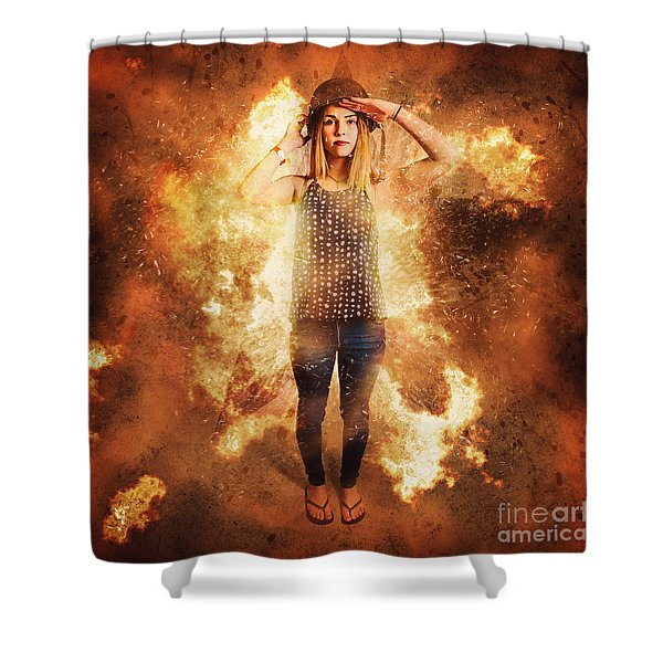 Retro Pinup Girl Soldier With Fashion Pride Shower Curtain
