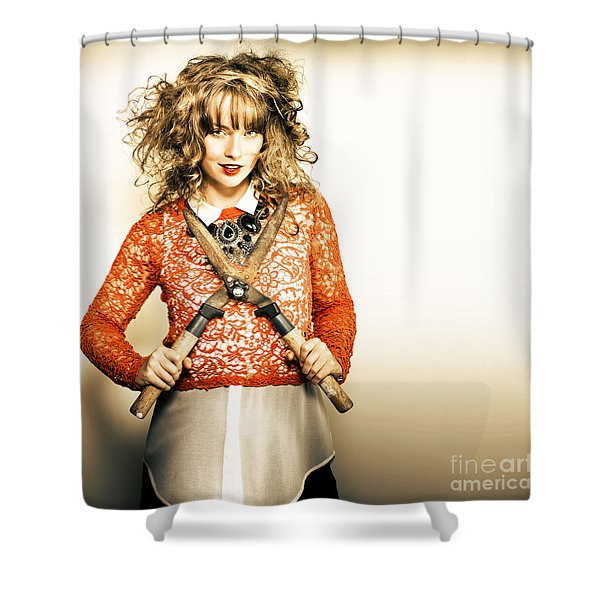 Retro Pinup Model In Spring Fashion Shower Curtain