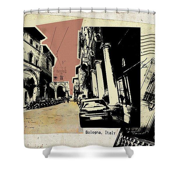 retro postcard of Bologna Shower Curtain