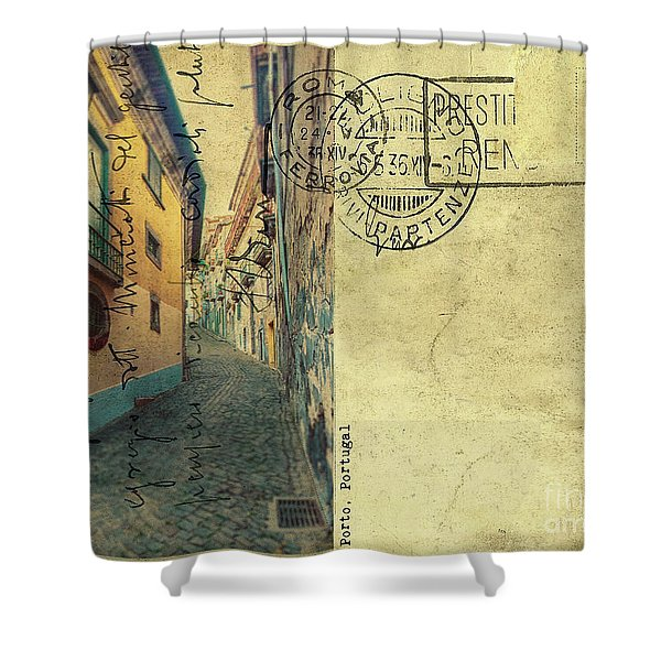 retro postcard of Porto, Portugal  Shower Curtain