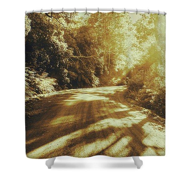 Retro Rainforest Road Shower Curtain