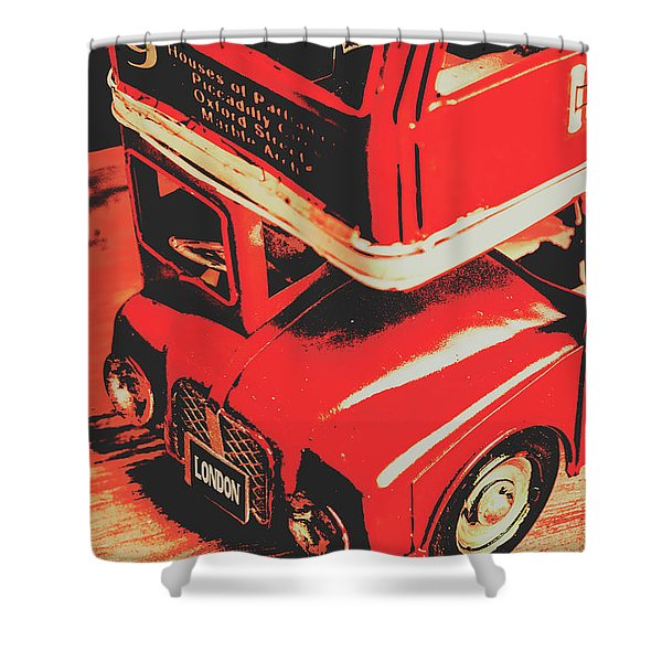 Retro Red Britain Shower Curtain