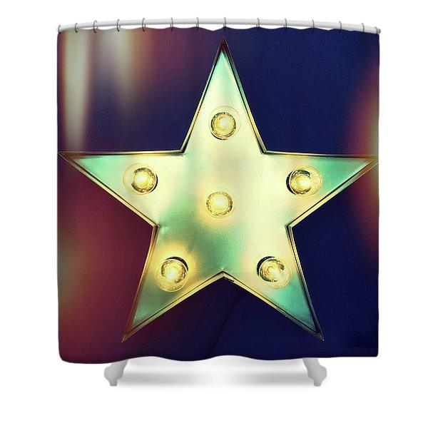 Retro Star With Light Bulbs Shower Curtain