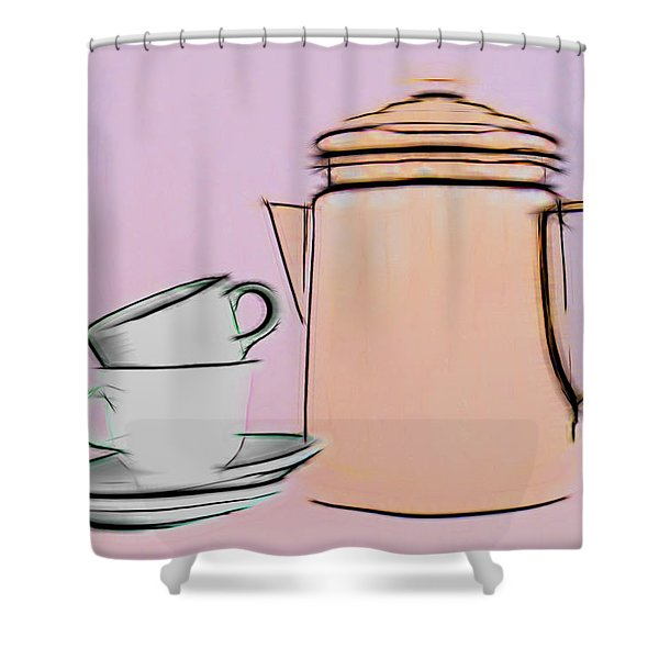 Retro Style Coffee Illustration Shower Curtain