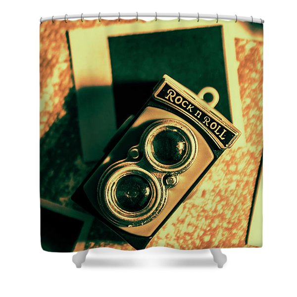 Retro Toy Camera On Photo Background Shower Curtain