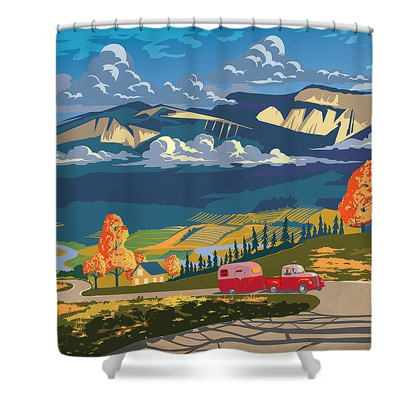 Shower Curtain featuring the painting Retro Travel Autumn Landscape by Sassan Filsoof