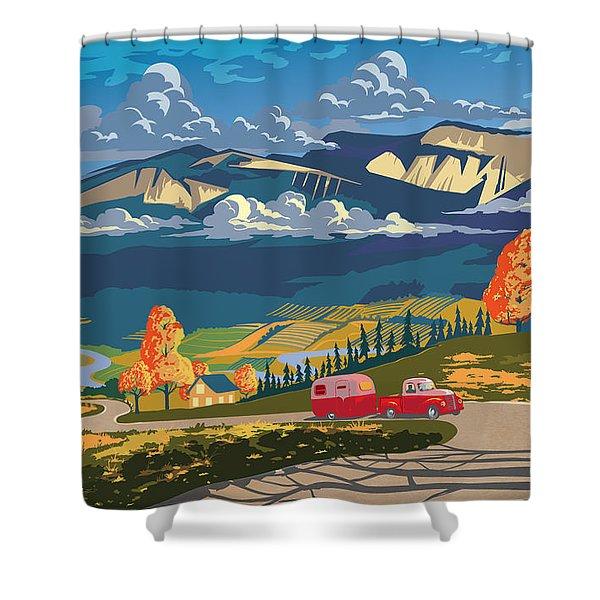 Retro Travel Autumn Landscape Shower Curtain