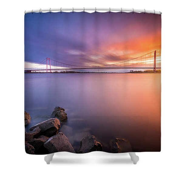 Rhine Bridge Sunset Shower Curtain