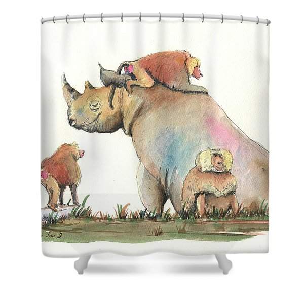 Rhino And Baboons Shower Curtain