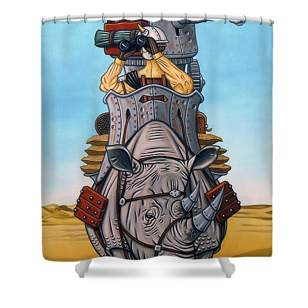 Rhinoceros Riders Shower Curtain