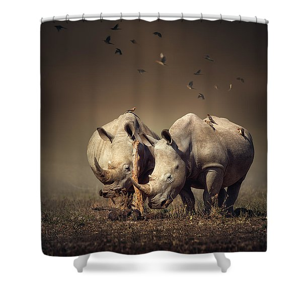 Rhino's With Birds Shower Curtain