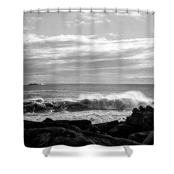 Shower Curtain featuring the photograph Rhode Island Rocks And Waves by Nancy De Flon