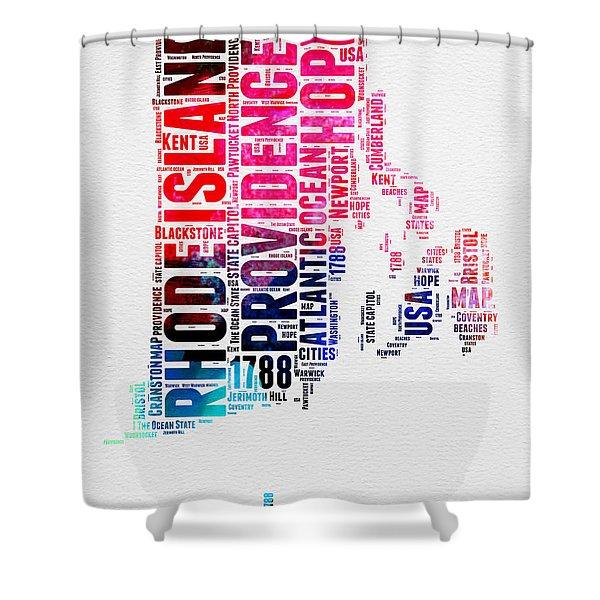 Rhode Island Watercolor Word Cloud Shower Curtain