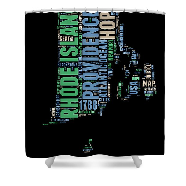 Rhode Island Word Cloud 2 Shower Curtain