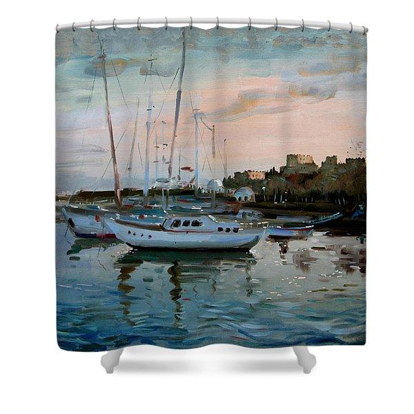 Rhodes Mandraki Harbour Shower Curtain