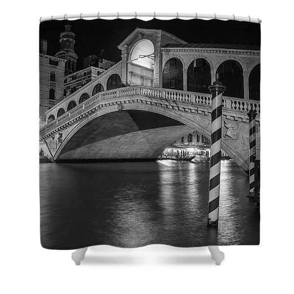 Rialto Bridge Black And White  Shower Curtain