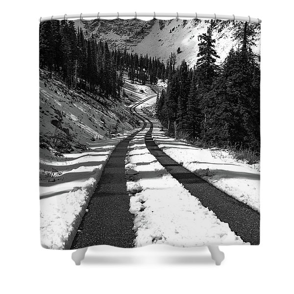 Ribbon To The Unknown Monochrome Art By Kaylyn Franks Shower Curtain
