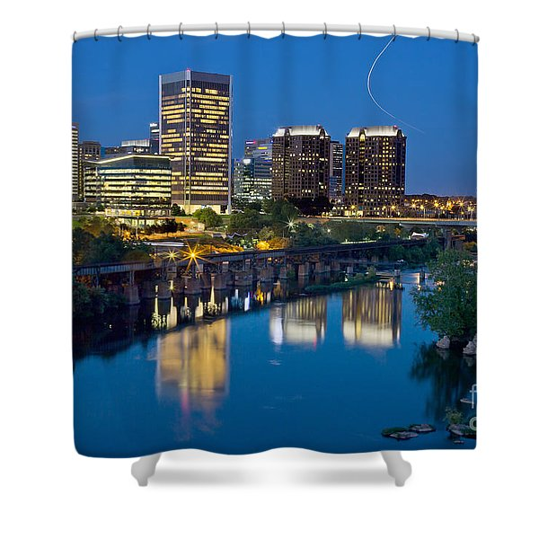 Shower Curtain featuring the photograph Richmond Skyline Helo Trail by Jemmy Archer