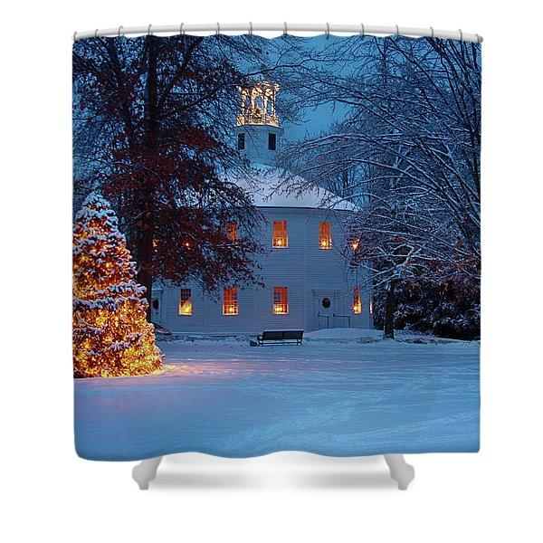 Richmond Vermont Round Church At Christmas Shower Curtain