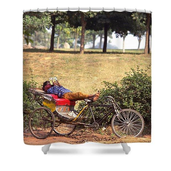 Rickshaw Rider Relaxing Shower Curtain