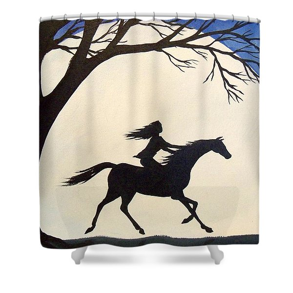 Ride Like The Wind  - Silhouette Girl Riding Horse Shower Curtain
