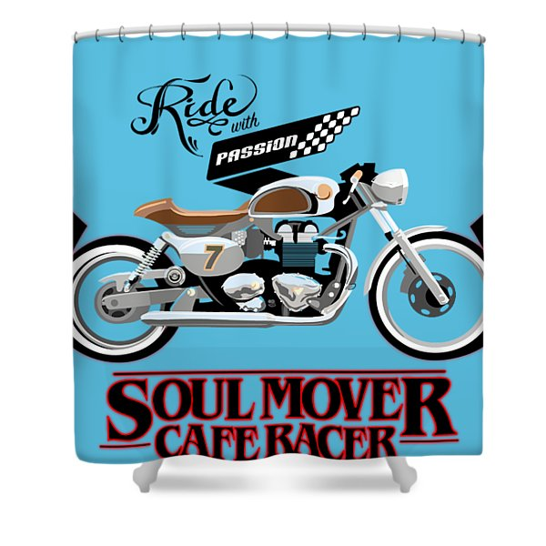 Ride With Passion Cafe Racer Shower Curtain