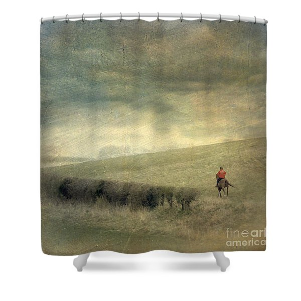 Rider In The Storm Shower Curtain