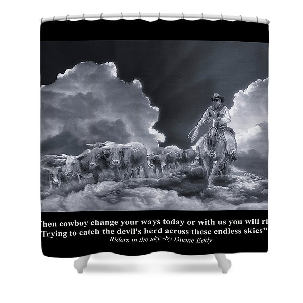 Riders In The Sky Bw Shower Curtain