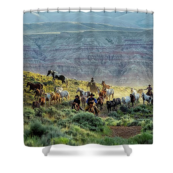 Riding Out Of The Sunrise Shower Curtain