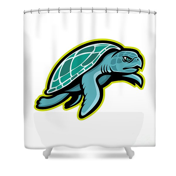 Ridley Sea Turtle Mascot Shower Curtain