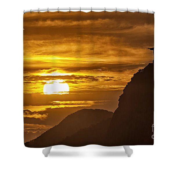 Shower Curtain featuring the photograph Rio De Janeiro Christ Statue by Juergen Held