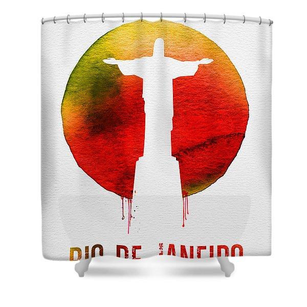 Rio De Janeiro Landmark Red Shower Curtain
