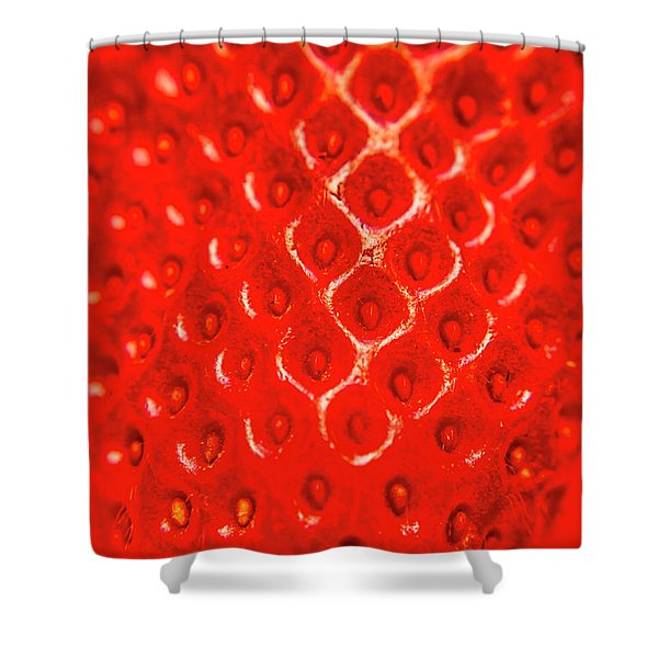 Ripe Red Fresh Strawberry Texture And Detail Shower Curtain