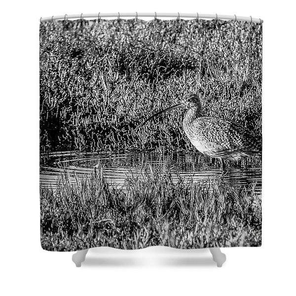 Camouflage, Black And White Shower Curtain