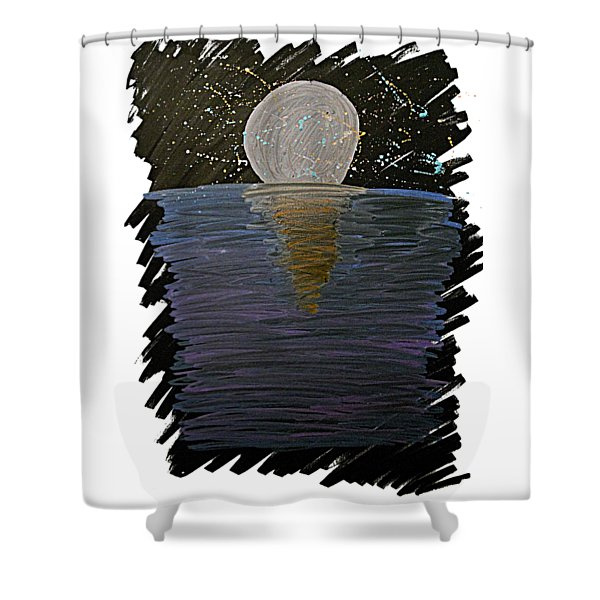 Shower Curtain featuring the drawing Rising Moon by Bee-Bee Deigner
