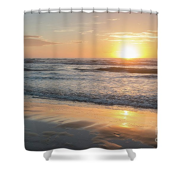 Rising Sun Reflecting On Wet Sand With Calm Ocean Waves In The B Shower Curtain