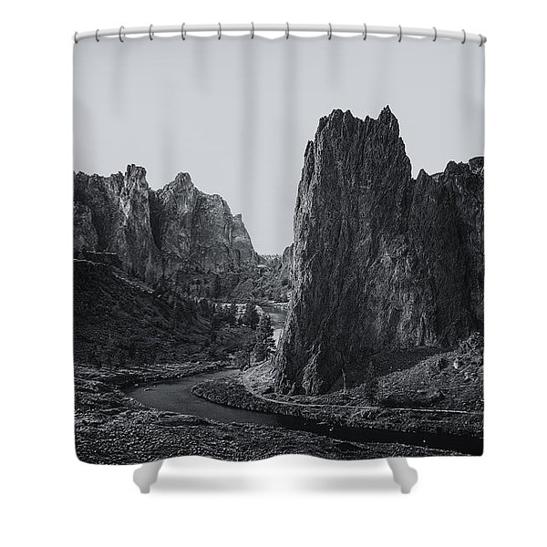 River And Rock Bw Shower Curtain